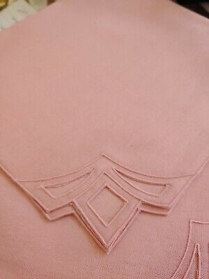 Art Deco Set Table - Set of 12 Art Deco Edge Linen Cotton Cloth Table Napkin Rose Mauve 17 inch