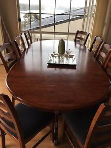 TIMBER DINING EXTENSION TABLE  & 12 CHAIRS Lilli Pilli Sutherland Area Preview