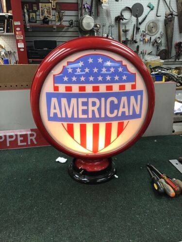 """Gasoline Globe: Aluminum Band with """"American"""" Lenses, REPRODUCTION"""