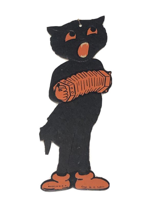 "H E Luhrs Diecut Cardboard 8 1/2"" Black Cat Musician Embossed USA Made Minty!"