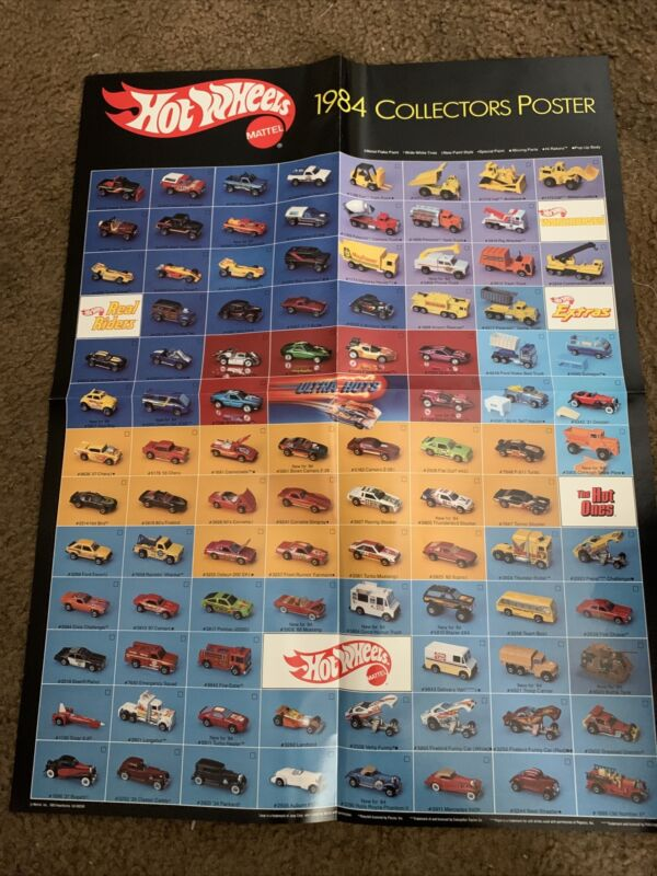 LOOSE HOT WHEELS MATTEL 1984 COLLECTORS POSTER / 16 1/2 BY 22