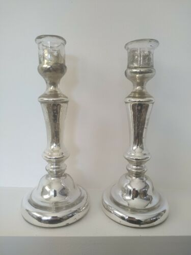 Antique 19th century Mercury Glass Candle Holders Candlesticks Eglomised