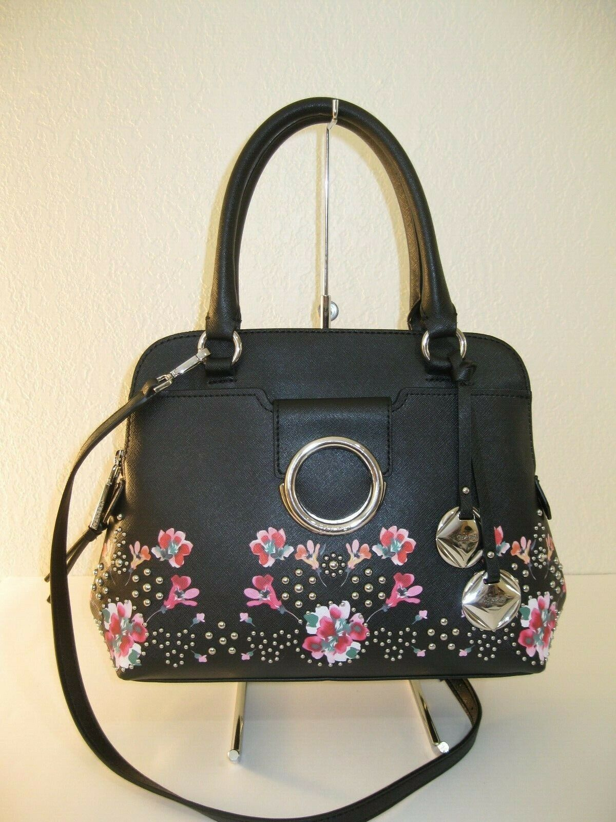 black saffiano leather reese floral convertible satchel