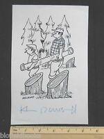 Original Ivan Wilding Tall And Short Lumberjack Cartoon (comic Postcard Artist) -  - ebay.co.uk