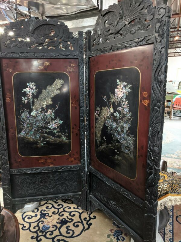 Antique Japanese /Chinese Red Lacquer Hand Painted  Folding Screen Peacocks