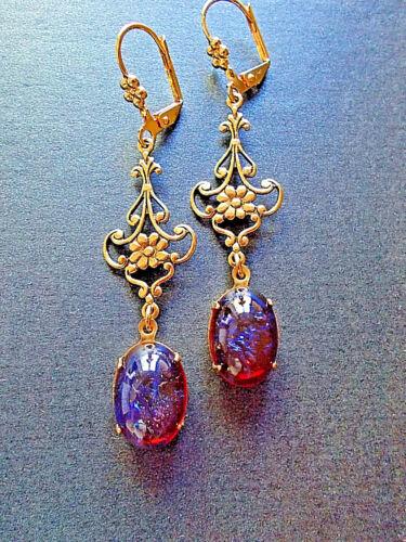AMAZING FIRE OPAL Dragons Breath Mexican crystal Filigree EARRINGS 14K Gold gp
