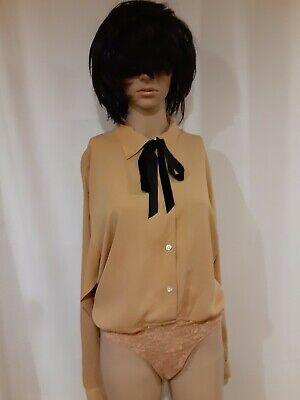 Vintage Emanuel Ungaro Silk Snap Crotch Bodysuit Blouse Long Sleeve Tie 8/42