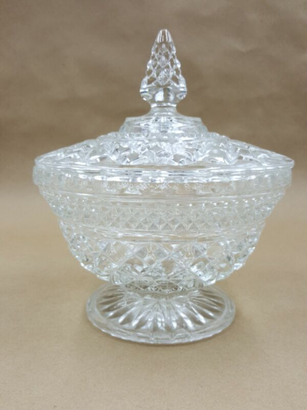 """Anchor Hocking Wexford Clear Candy Dish With Lid 8"""" tall by 6 1/2"""" diameter"""