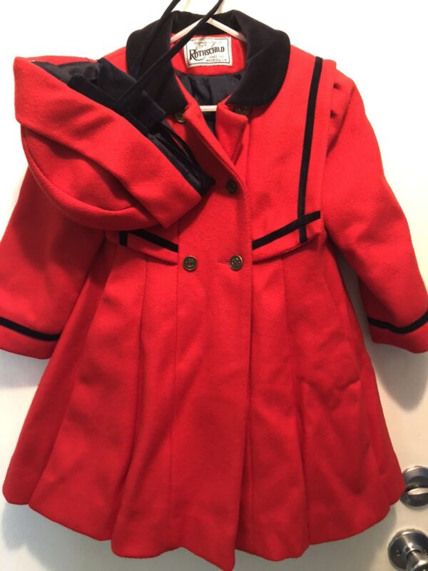 Vintage Girls Rothschild Wool Dress Coat Hat Red Sailor 4