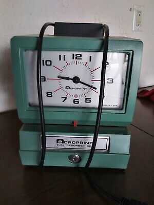 Vintage Acroprint 150nr4 Time Recorder Manual Punch Clock Wo Key