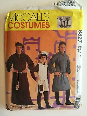 Monk Costume Pattern (Uncut McCall's Medieval Costume Pattern 8827 Mens 42-44 Large Monk Tunic)