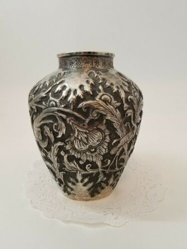 Antique Persian Middle Eastern Solid Silver Hallmarked Vase 298g  QM4329