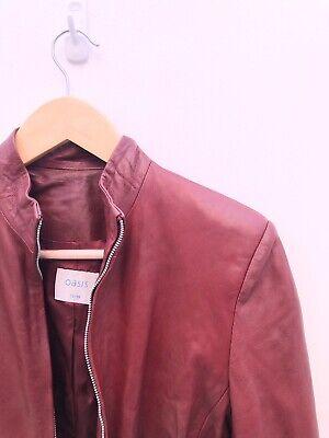 Oasis Vintage 90s Y2K Burgundy Real Leather  Jacket Biker Size 10 Retro