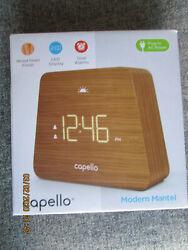 CA 41 Capello Digital LED Modern Mantle Alarm Clock Wood Grain Finish