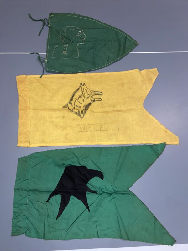 Vintage Boy Scout Patrol Flags Stitched DRAWN  WOLF COMMANCHES EAGLE BSA