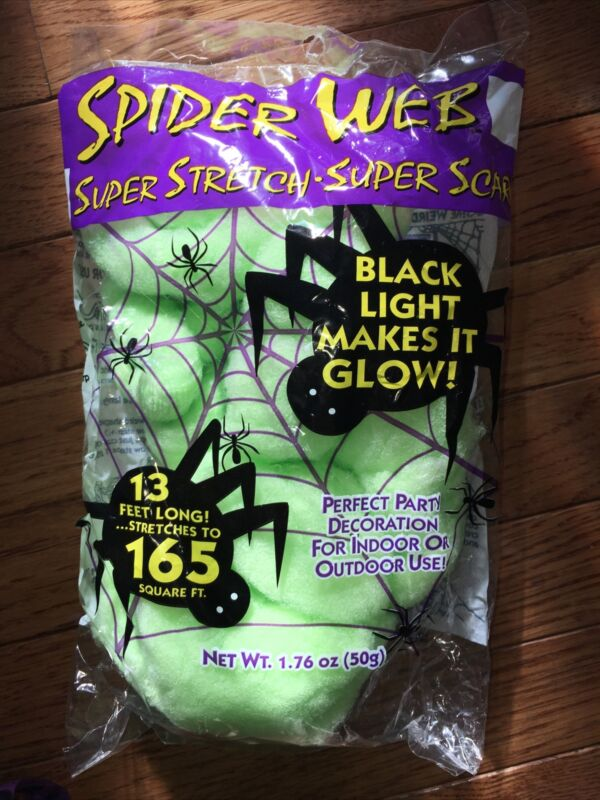 Super Stretch Spider Web Halloween Scary Party Prop Neon Green Glow Black Light