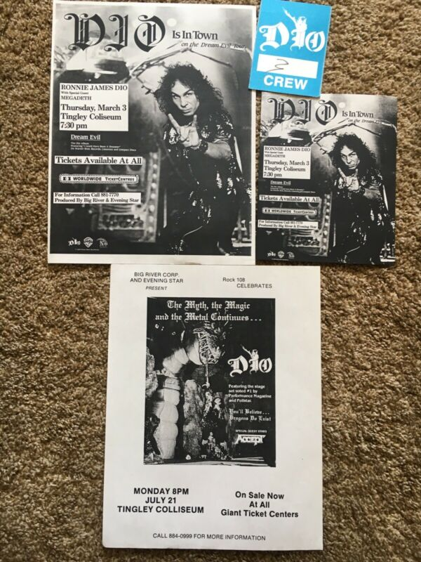 RONNIE JAMES DIO CONCERT FLYERS AND BACKSTAGE PASS