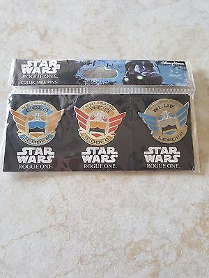 Pin Trading Disney Pins Lot of 3 Set Star Wars Rogue One Squadron Leader Gold