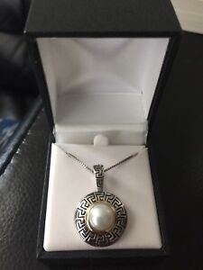 Sterling silver Greek key pearl necklace (price negotiable)