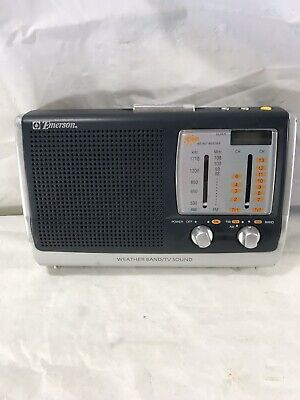 Emerson Weather Radio TV Sound Portable Battery Backup AM FM Weather Works Great Sound Backup Battery