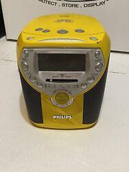 Philips Clock CD Player AM FM Radio Alarm Clock AJ3957/17 Yellow - Rare!!