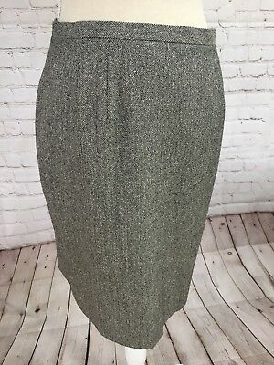 Talbots Skirt Size 8 Stretch Straight Gray Herringbone Silk Wool Blend Great Herringbone Silk Skirt