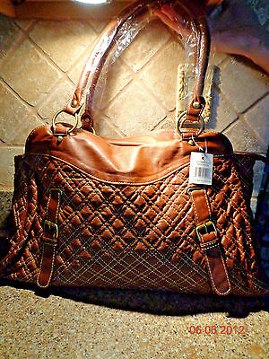 NEW!! Cognac Detail Stitch/Gold Metal Ware Faux Leather Large Tote/Purse