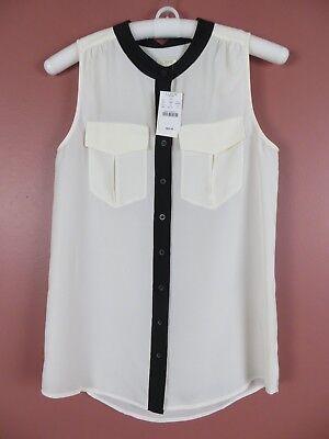 TB04842- NWT J. CREW Womens 100% Polyester Sleeveless Blouse Pockets Sz 2 $64.50