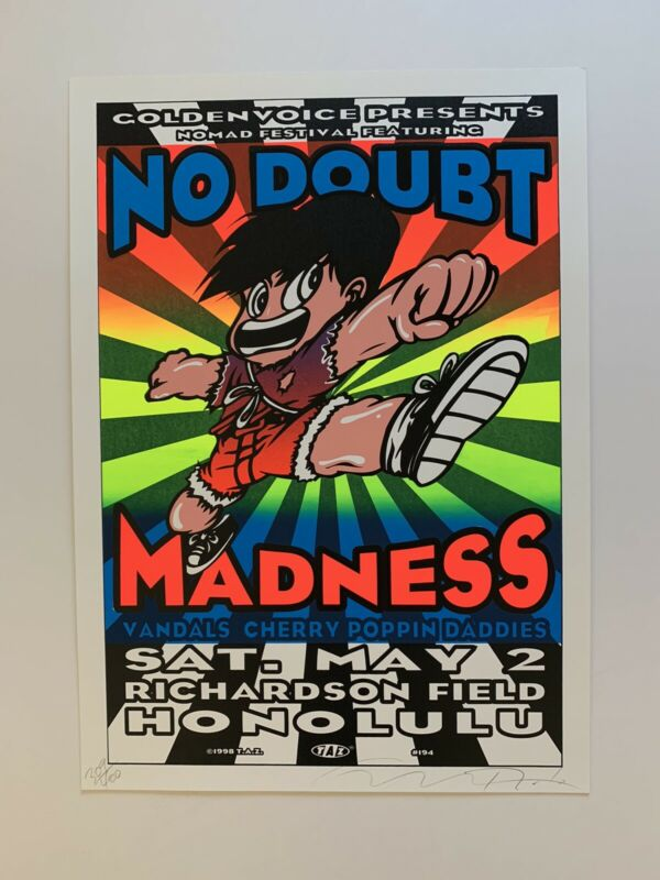 Taz No Doubt Original 1998 Rock Concert Poster SignedHonolulu Hawaii