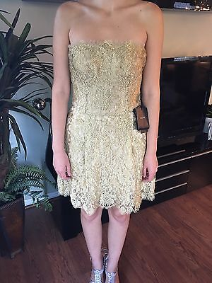 NEW DOLCE & GABBANA SEXY Bustier Gold Floral Lace Dress Sz 44 8 NWT MSRP$5245