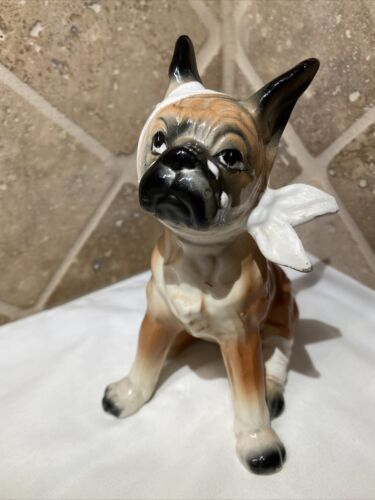 Boxer Puppy Dog Figurine Bandaged Made in Japan Vintage