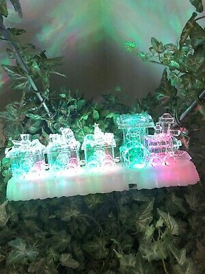 Pre-Lit Led Acrylic Musical Christmas Color Changing Train Set Decoration~NEW