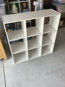 Small white square book case