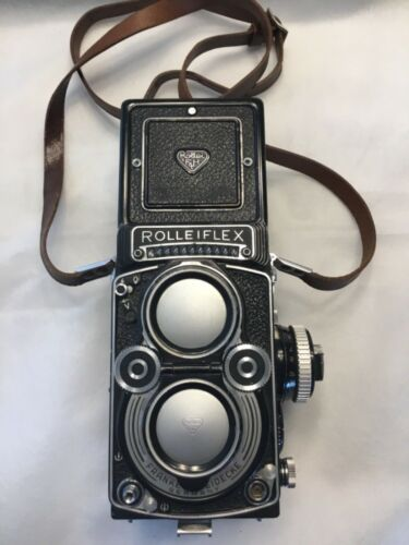 """VINTAGE """"BEAUTIFUL"""" ROLLEI ROLLEIFLEX PLANAR 3.5F TLR CAMERA WITH LEATHER CASE"""