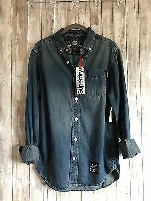 SUPERDRY Denim Slim Fit Jean Loom Line Chambray Button Up Shirt M Medium RARE
