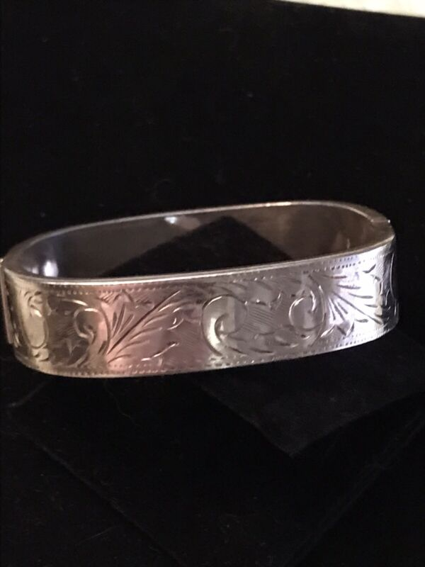 925 Sterling Silver - Vintage Floral Leaf Vine Cuff Bracelet Square Hinged AS IS