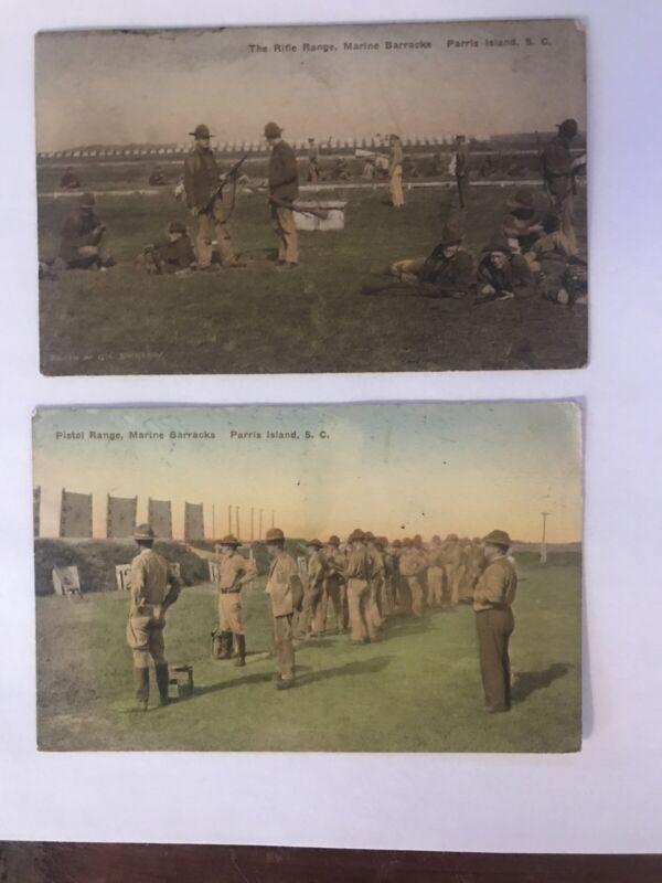 2 1931 COLOR POSTCARDS Paris Island Pistol Riffle Range