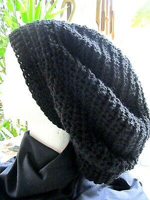 Handmade Crocheted Rasta Reggae Dreadlocks Tam Beret Slouchy One Size Black -