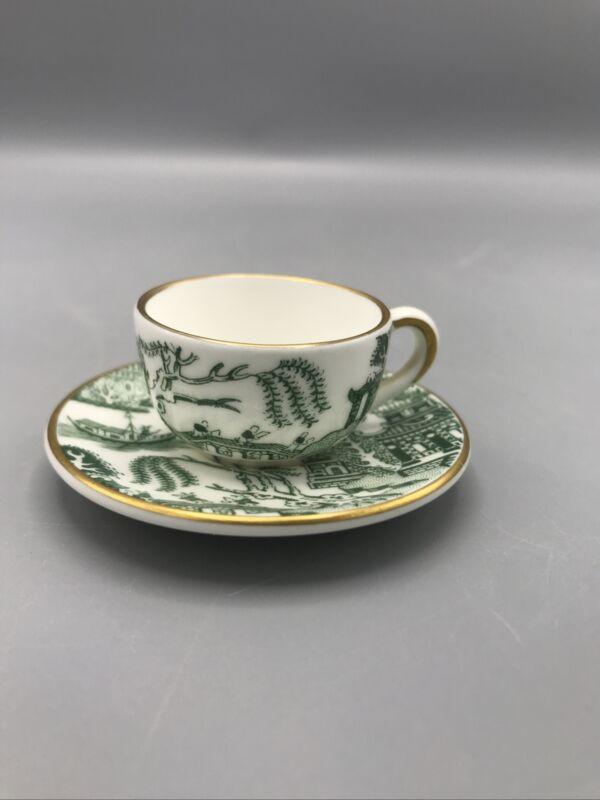 Coalport Green Willow Miniature Cup and Saucer Set - Mint
