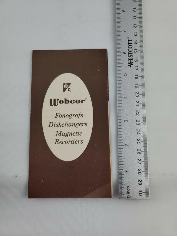 Vintage Webcor Fonografs Diskchangers Magnetic Recorder Sales Brochure Flyer