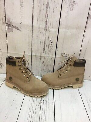 Timberland 6 inch Premium Taupe Nubuck Waterproof Lace Up Boots Boy's Size 5.5 Taupe Nubuck Schuhe