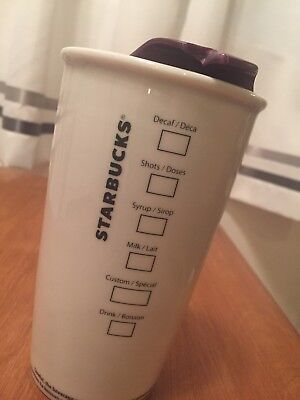 """Starbucks 2011 White Travel Coffee Cup Mug Mermaid Logo 16 oz 6"""" Tall with Lid"""