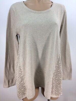 (Style & Co Crochet Trim Knit Tunic Top Hammock Heather Size Medium)