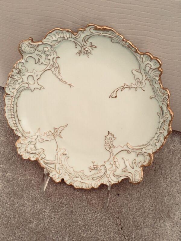 Antique ~ Leonard Vienna Austria ~ Pale Green, Gold Trim, Raised Designs ~ Bowl