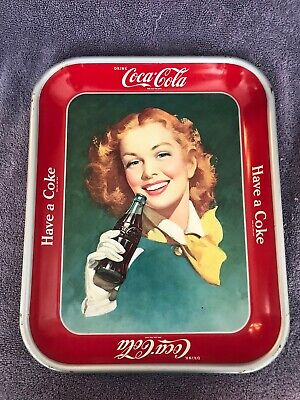 VINTAGE METAL (COKE) COCA COLA TRAY RED HAIR GIRL YELLOW SCARF