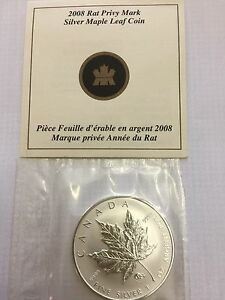 2008Canadian Rat Privy With COA Pure Silver 1 Oz Coin