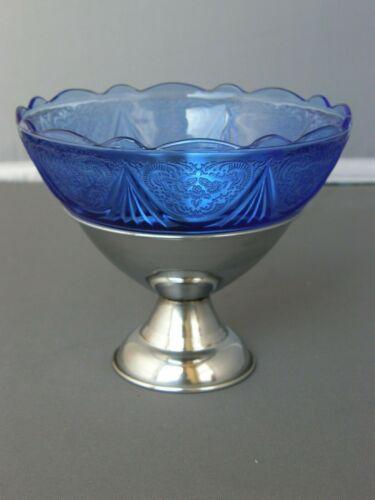 Ice Cream/Dessert Dish Chrome Stand-Cobalt Royal Lace Pattern-Hazel Atlas Glass