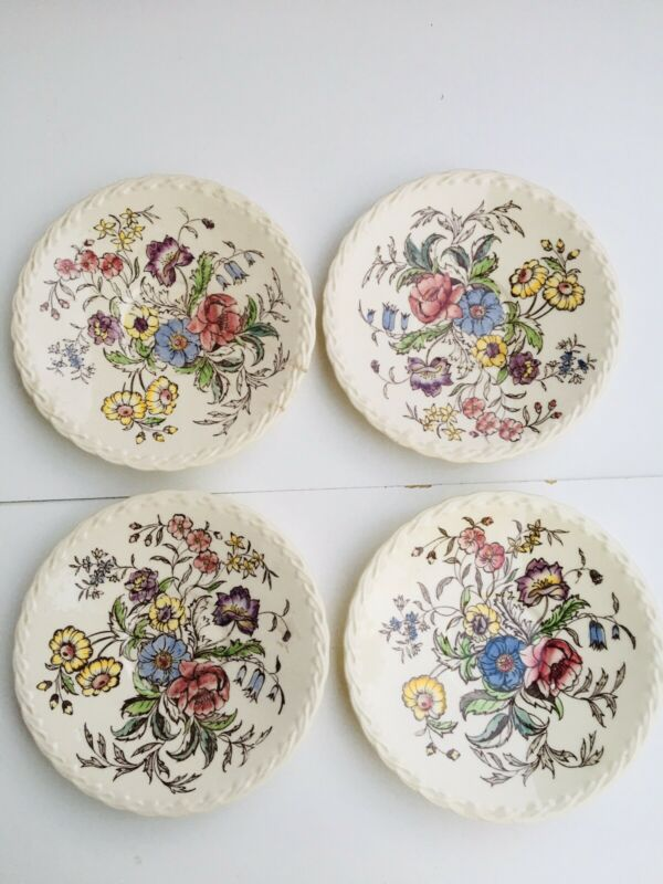4pc Vernonware Mayflower Plates Under Glaze Handpainted California USA Crafted