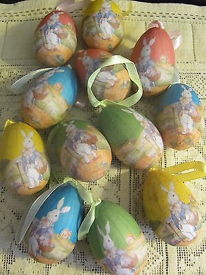 #1 Vintage Style Easter Egg Ornaments Paper Wrapped 12 Pcs. New