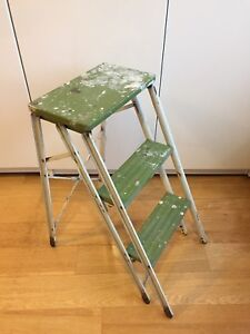 VINTAGE INDUSTRIAL 3 STEP LADDER FOLDING COLLAPSIBLE STEEL FRAME